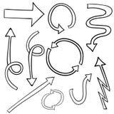 Set ręki rysować 3d strzała kreskówki serc biegunowy setu wektor Doodled strzała odizolowywać na bielu ilustracja wektor
