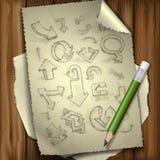 Set ręki Rysować Doodle strzała. Obrazy Royalty Free