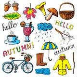 Set ręki rysować jesieni ikony Fotografia Stock