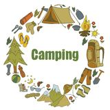 Set ręki rysować nakreślenia wyposażenia campingowe ikony i symbole również zwrócić corel ilustracji wektora Fotografia Royalty Free