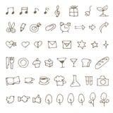 Set ręki rysować nakreślenie ikony, muzyki notatka, jedzenie, materiały i royalty ilustracja