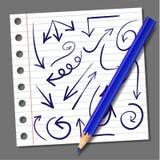 Set ręki rysować strzała i realistyczny błękitny ołówek wektor strzała niebieskie Zdjęcia Stock