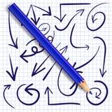 Set ręki rysować strzała i realistyczny błękitny ołówek wektor Zmrok - błękitne strzała Obrazy Royalty Free