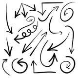 Set ręki rysować strzała wektor Czarne strzała royalty ilustracja