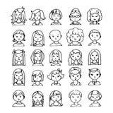 Set ręki rysujący doodle avatars Zdjęcie Royalty Free