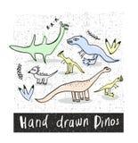 Set ręki rysujący prehistoryczni zwierzęta w naiwnym stylu Fotografia Royalty Free