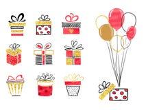 Set ręki rysujący prezentów pudełka w czerwieni, czarnych i złotych kolorach, ilustracji