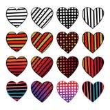 Set ręki rysujący serca Kolorowego valentine nakreślenia wektorowy doodle projekty graficzny elementów wektora ilustracyjny Lampa ilustracja wektor
