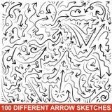 Set ręki rysujący strzała nakreślenia. Czarna grafika ilustracji