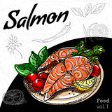Set ręki rysunkowy jedzenie Łososiowy grill Fotografia Stock