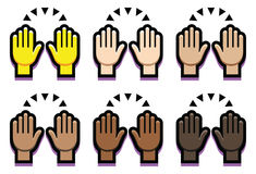 Set ręki Up Odizolowywać Na Białym tle ilustracji