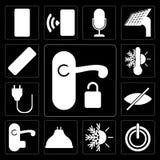 Set rękojeść, władza, ogrzewanie, Lightbulb, stora, prymka, Thermosta royalty ilustracja
