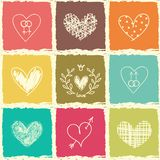 Set ręka remisu serca Zdjęcia Royalty Free