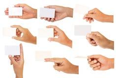 Set ręki mienia papier Fotografia Stock