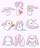 Pink ear rabbit character set stock images
