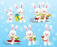 Set of rabbit characters Royalty Free Stock Images