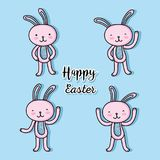Set rabbit easter celebration holiday. Vector illustration Royalty Free Stock Photos