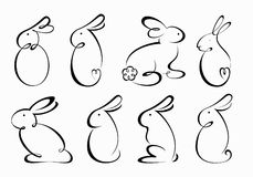 Set of Rabbit Outlines. Set of  eight isolated vector images of bunny  in outline style Stock Photo