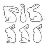 Set of Rabbit Outlines. Set of  six isolated vector images of bunny  in outline style Stock Photos