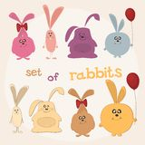 Set of rabbits Stock Photography