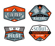 Set of race and camping patch Stock Images