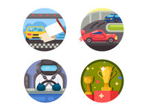 Set of race icons. Speed racing on cars. Vector illustration. Pixel perfect icons size - 128 px Stock Photos