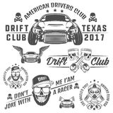 Set of racing and drift elements design,skull racer and piston skull labels ,emblems and logo.black and white Royalty Free Stock Images
