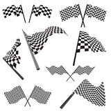Set of racing flags. Set of black and white checked racing flags. Vector illustration Vector Illustration