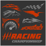 Set of racing stickers. Monochrome vector illustrations. Stock Images