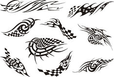 Set of racing tattoos Royalty Free Stock Photo