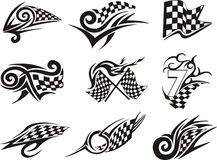 Set of racing tattoos with checkered flags. Black and white vector illustrations Stock Photography