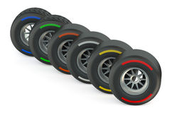 Set of racing wheels Stock Photos