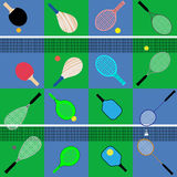 Set of rackets and balls Stock Images