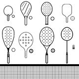 Set of rackets and balls Stock Photo
