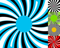 Set of 4 radial lines background. Concentric stripes pattern. Ci Royalty Free Stock Photography