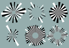 Set 6 radial lines, rays, beams elements. Various starburst, sun. Burst shapes with irregular lines - Royalty free vector illustration Stock Images