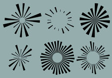 Set 6 radial lines, rays, beams elements. Various starburst, sun. Burst shapes with irregular lines - Royalty free vector illustration royalty free illustration