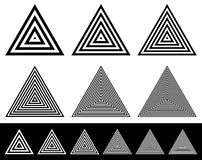 Set of radiating triangle shapes. Sparse and dense versions with. Thinner lines. - Royalty free vector illustration Royalty Free Stock Photography