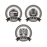 Set of radio badges Royalty Free Stock Photos