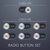 Set radio buttons on and off different colors website design Royalty Free Stock Photos