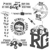 Set of radio controlled machine emblems,RC, radio controlled toys design elements for emblems, icon, tee shirt ,related emblems, l Stock Images