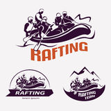 Set of rafting templates for labels, emblems Royalty Free Stock Photo