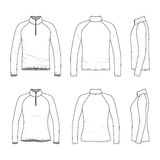 Set of raglan sleeved t-shirt with zipper. Front, back, side views of raglan sleeved t-shirt with zipper. Male and female clothing set. Blank vector templates Stock Photos