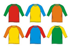 Set raglan T-shirt  colorful blank Stock Photo