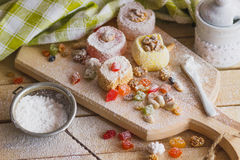 Set of rahat lokum with candied peels, nuts and sugar powder Stock Photos