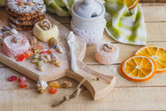 Set of rahat lokum with candied peels, nuts and sugar powder Royalty Free Stock Image