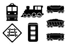 Set rail road black silhouette Royalty Free Stock Photography