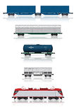 Set of railroad cars with electric locomotive. 3d render illustration isolated on white: Set of modern freight railroad cars with electric locomotive Stock Photo