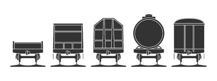 Set of railroad cars. Isolated on white. Vector illustration Royalty Free Stock Images