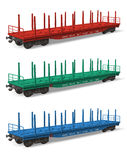 Set of railroad flatcars Stock Photography